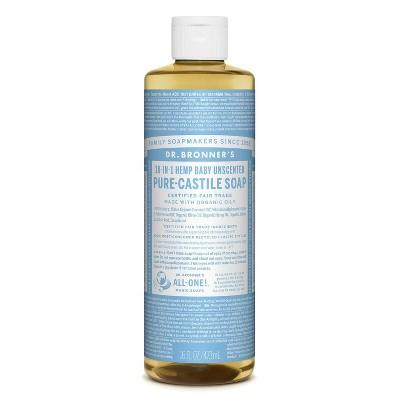Dr. Bronner's Baby Unscented Pure-Castile Liquid Soap - 16oz