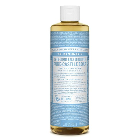 Dr. Bronner's Baby Unscented Pure-Castile Liquid Soap - 16oz - image 1 of 3