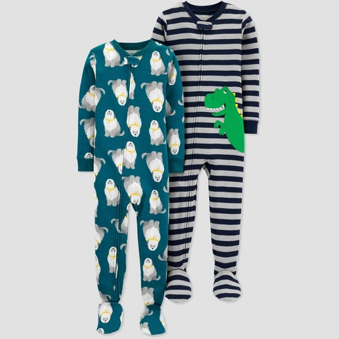 Toddler Boys' Striped Dino One Piece Pajama - Just One You® made by carter's Navy - image 1 of 1
