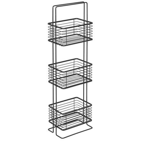 Mdesign Vertical Standing Bathroom Shelving Unit Tower With 3 Baskets Black Target