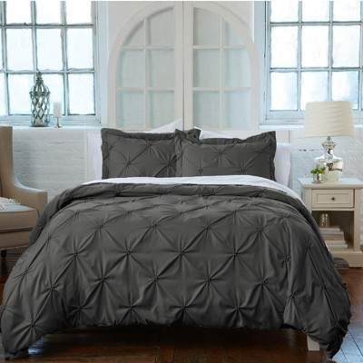 Great Bay Home Pleated Pintuck Microfiber Duvet Set