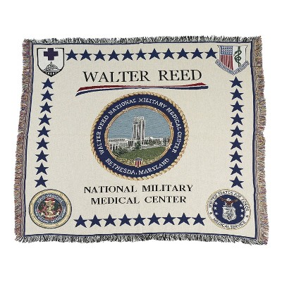 """Simply Home 50"""" x 60"""" Walter Reed National Military Medical Center Throw Blanket - Beige/Blue"""