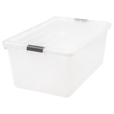 IRIS 68qt Buckle Down Plastic Storage Bin - Clear