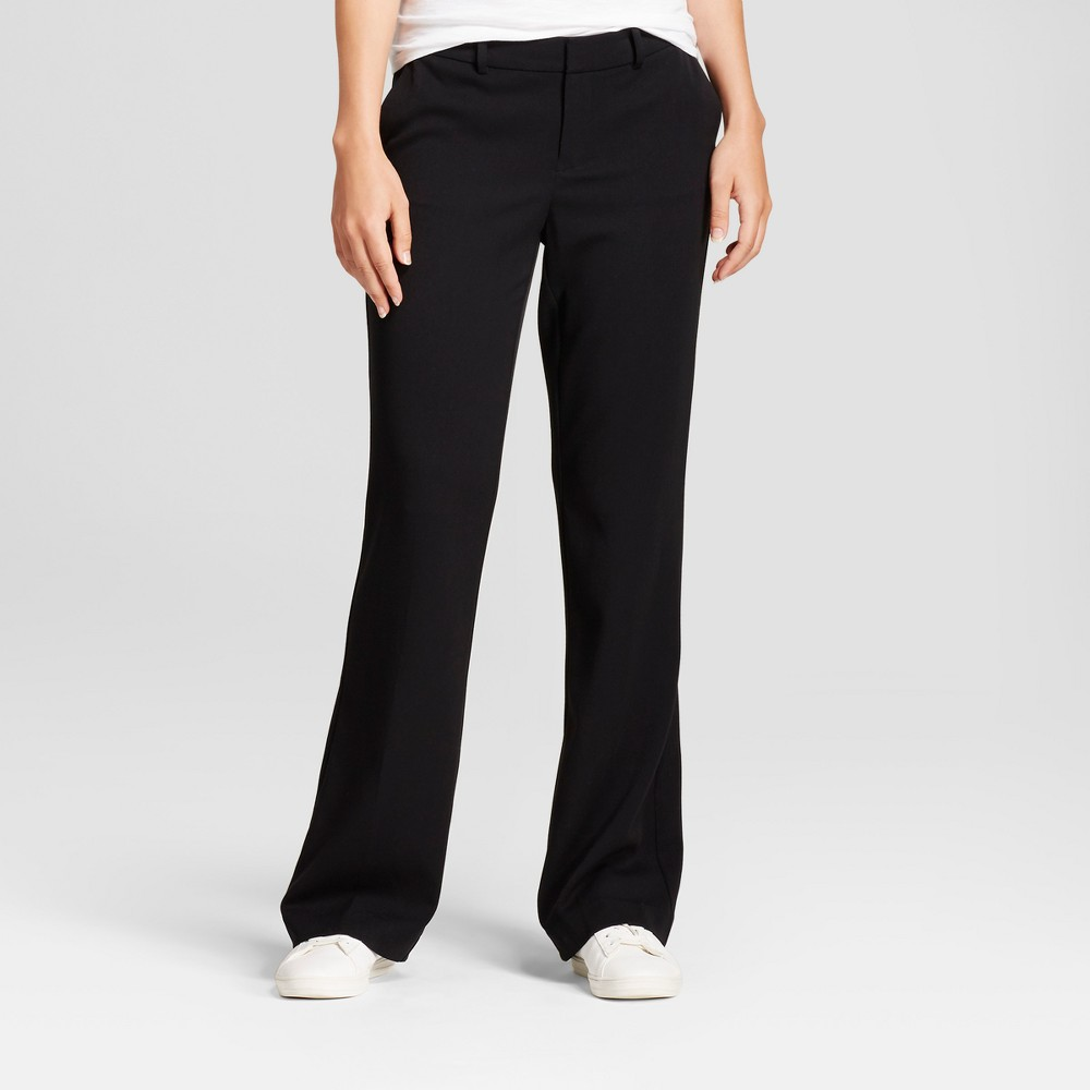 Women's Flare Bi-Stretch Twill Pants - A New Day Black 10S, Size: 10 Short