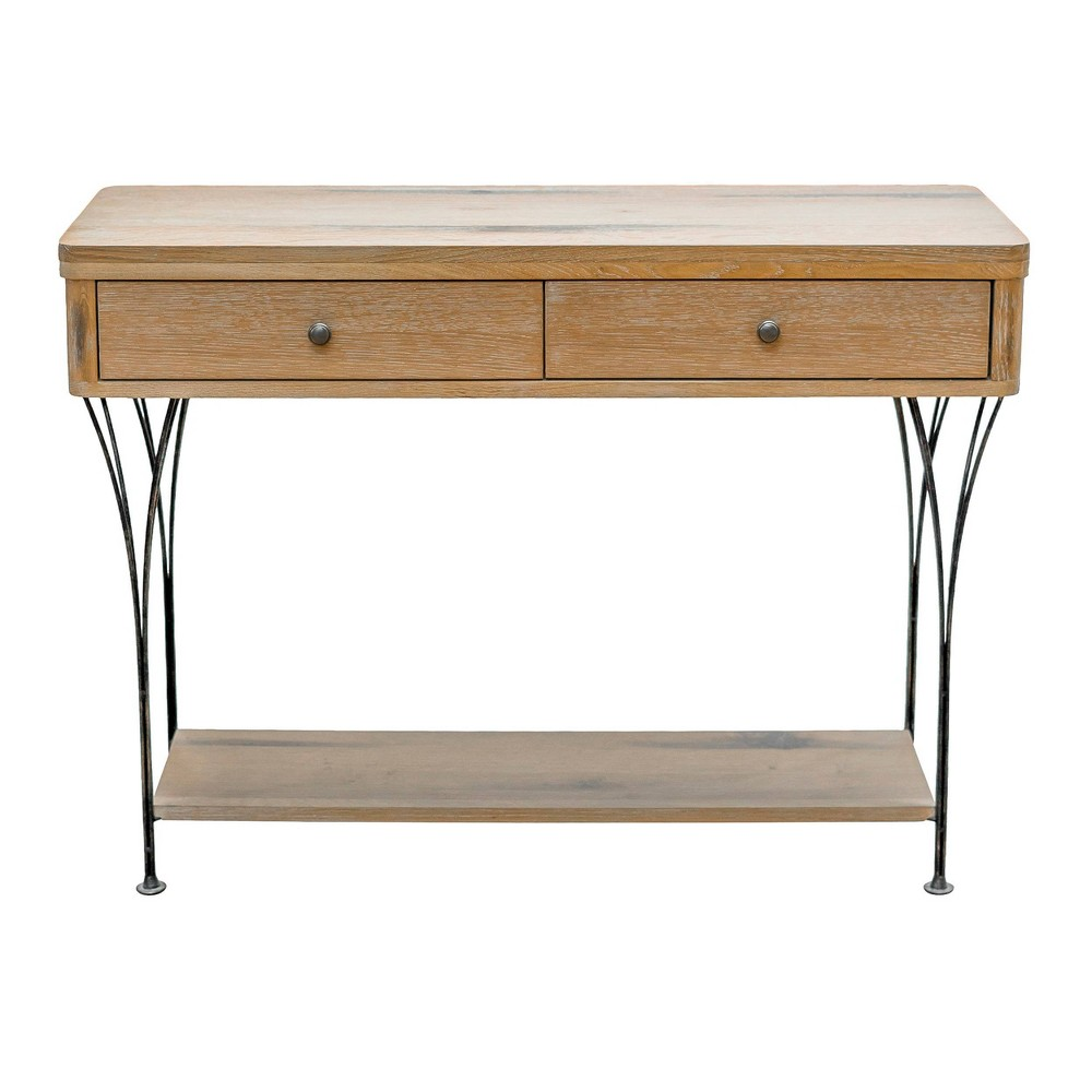 Thetford Console Table with Drawers Washed Wood - Alaterre Furniture