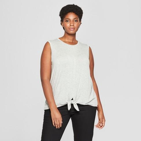 0619a9b7252 Women s Plus Size Tie Front Tank - Ava   Viv™ Heather Gray 3X   Target