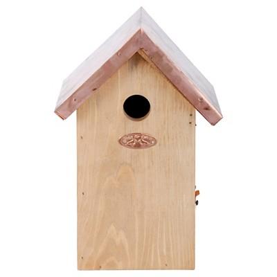 "6.6"" Bird House Natural Wood With Copper Roof - Beige - Esschert Design"
