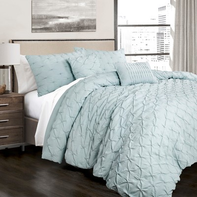 King 5pc Ravello Pintuck Comforter Set Blue - Lush Décor