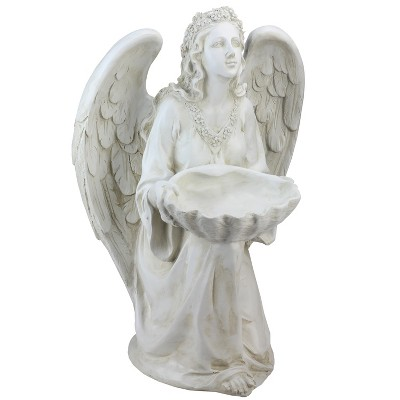 "Northlight 19.75"" Angel with Shell Religious Outdoor Patio Garden Statue Bird Feeder - White"
