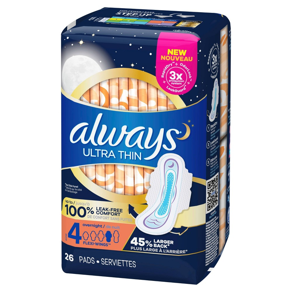Always Ultra Thin Overnight Pads With Wings Unscented Size 4 26ct