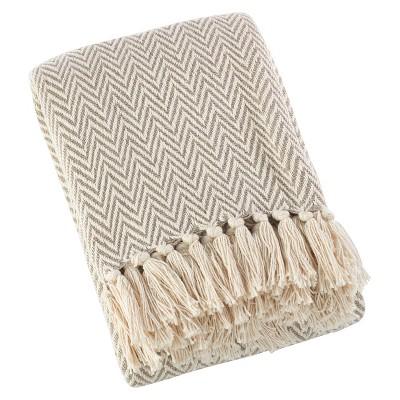 """Light Brown Sevan Soft Cotton Diamond Weave Throw Blankets (50""""x60"""")- Saro Lifestyle"""