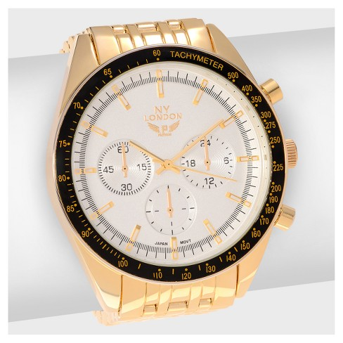 Men's NY London Large Round Face Tachymeter Link Bracelet Watch - image 1 of 3