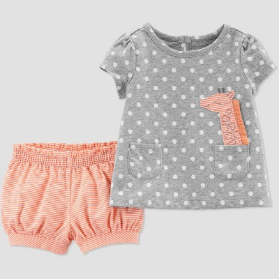 Baby Girls' 2pc Dots Giraffe Top And Bottom Set - Just One You® made by carter's Gray/Peach 3M