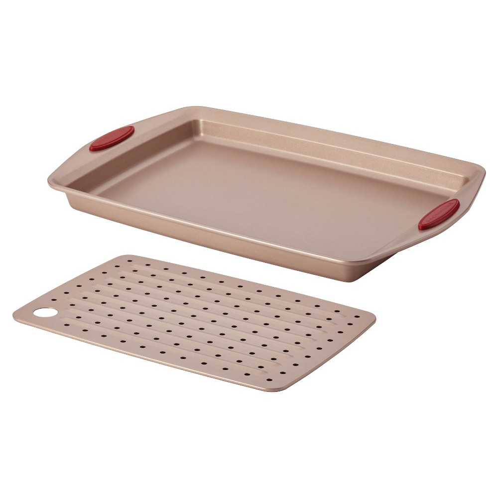 Image of Rachael Ray 2 Piece Nonstick Bakeware Crisper Pan Set