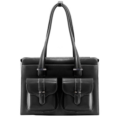"McKlein Alexis 14"" Leather Ladies' Laptop Briefcase - Black"