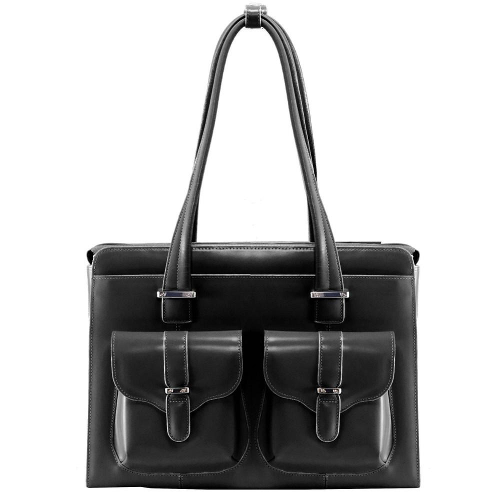 "McKlein Alexis 14"" Leather Ladies' Laptop Briefcase (Black), Women's"