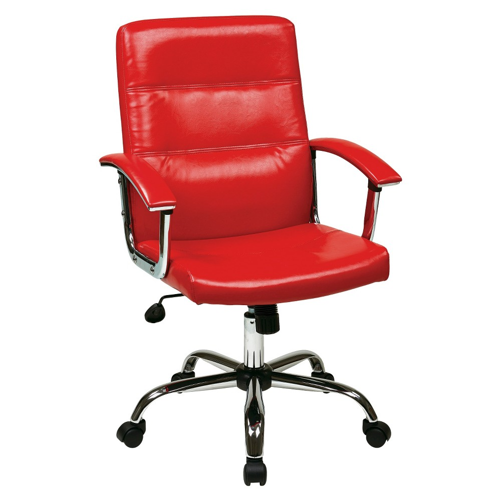 Image of Office Star Leather Task Chair - Red