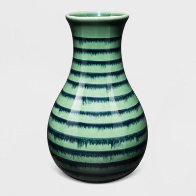 Ceramic Stripe Vase - Green/Blue - Threshold™