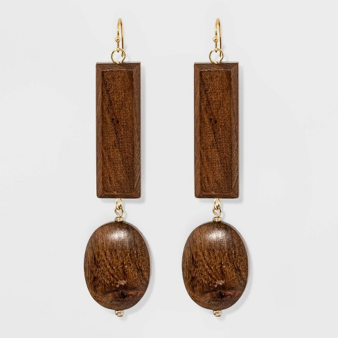 Wood Drop Earrings - A New Day™ Brown/Gold - image 1 of 2