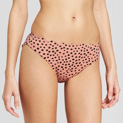 Vanilla Beach Women's Scallop Hipster Bikini Bottom - Animal XS - image 1 of 4