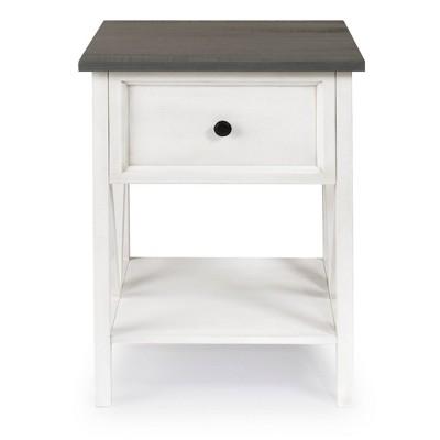 Modern Farmhouse End Table Gray/White Wash - Saracina Home