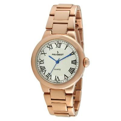 Women's Peugeot Roman Guilloche Dial Bracelet Watch - Rose Gold