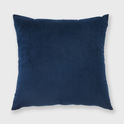 "18""x18"" Solid Ribbed Textured Throw Pillow Navy - Freshmint"