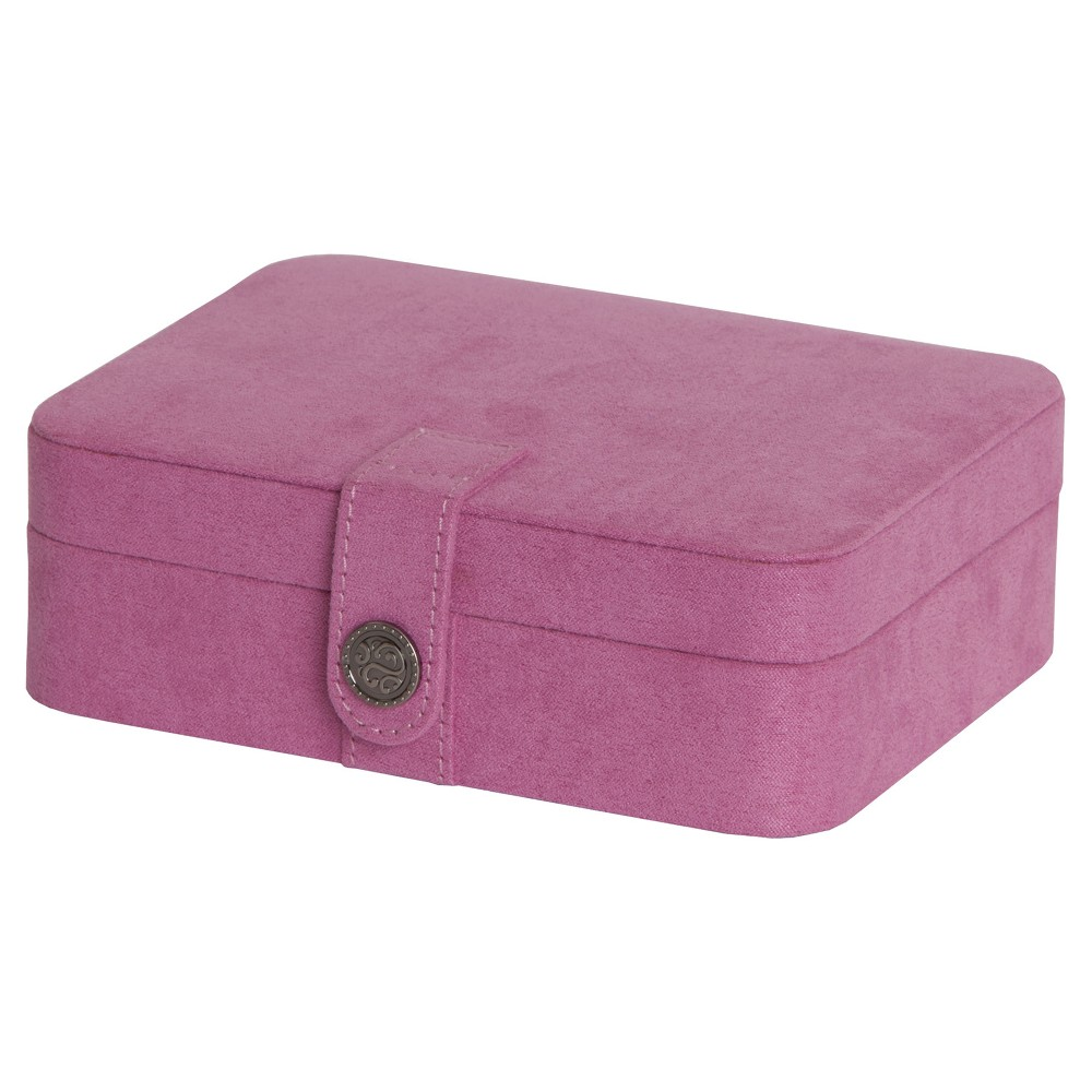 Image of Mele & Co. Giana Women's Plush Fabric Jewelry Box with Lift Out Tray-Pink, Size: Small