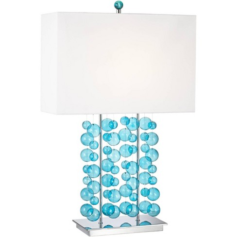 Possini Euro Design Modern Table Lamp Blue Bubble Cascade Glass Chrome Bright White Box Shade for Living Room Bedroom Family - image 1 of 4