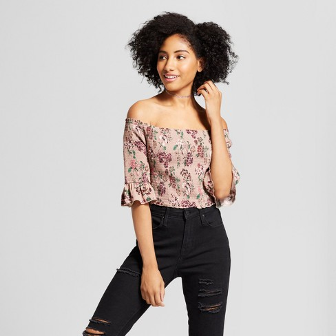Women s 3 4 Sleeve Floral Printed Smocked Off the Shoulder Crop Top -  Xhilaration™ dbab5dda1b
