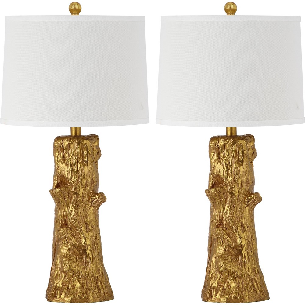 Arcadia Faux Bois Table Lamp - Gold/White - Safavieh