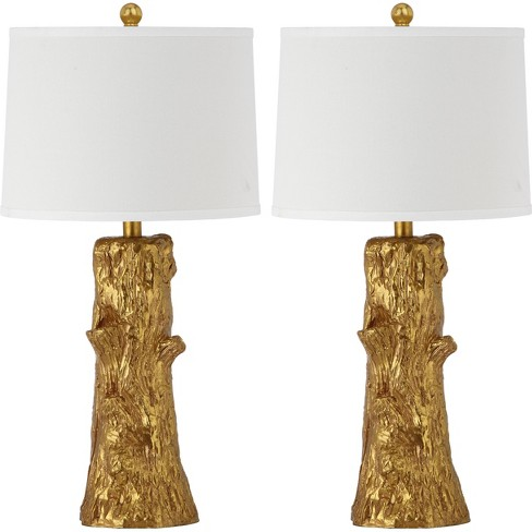 Arcadia Faux Bois Table Lamp - Gold/White - Safavieh® - image 1 of 4