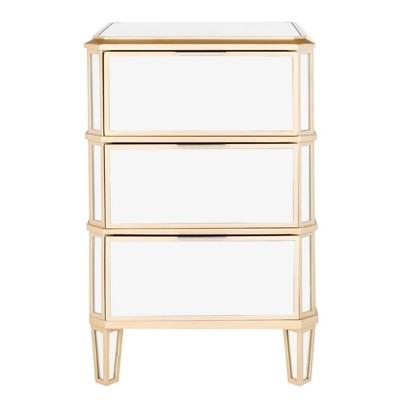 Giana 3 Drawer Mirrored Nightstand Mirror Gold - Safavieh