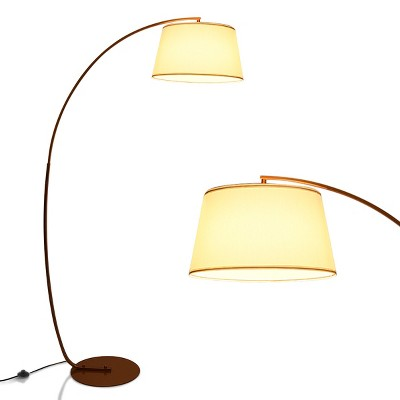 Costway Arc Floor Lamp with Hanging Fabric Lampshade & Sturdy Base Modern Design BlackCopper