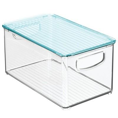 mDesign Plastic Storage Organizer Bin, Lid for Kids Supplies, 4 Pack, Clear/Blue