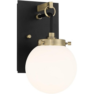 """Possini Euro Design Modern Wall Light Sconce Black Antique Brass Hardwired 11"""" High Fixture Frosted Glass Globe Bedroom Bathroom"""