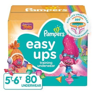 Pampers Easy Ups Girls'Disposable Training Pants Enormous Pack - Size 5T-6T - 80ct