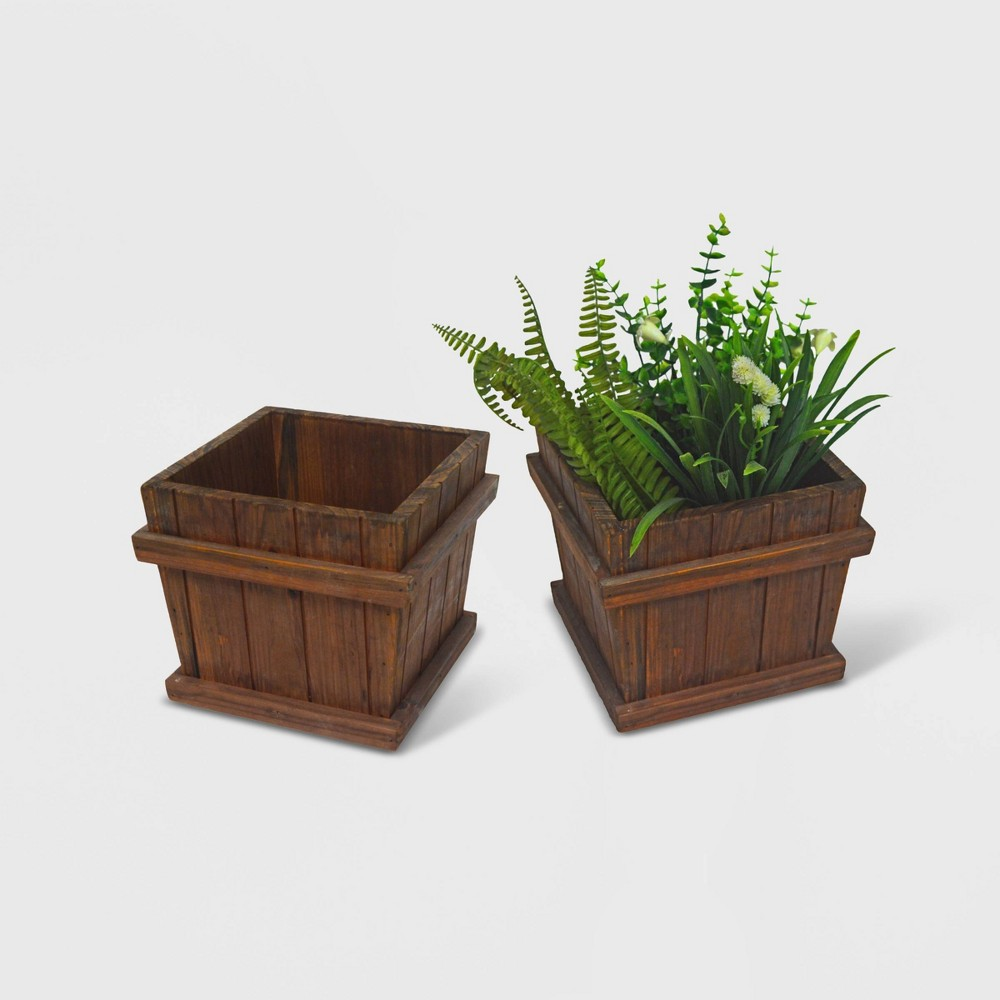 Image of 2pc Square Tapered Wooden Planters Brown - Leisure Season