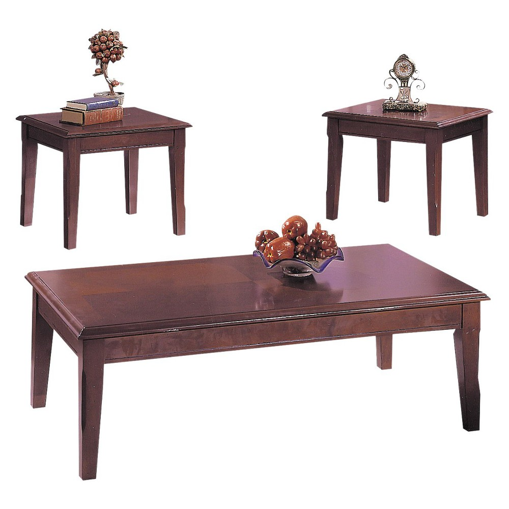 Image of 3 Piece Chester Pack Coffee End Table Set Merlot - Acme, Old Wine