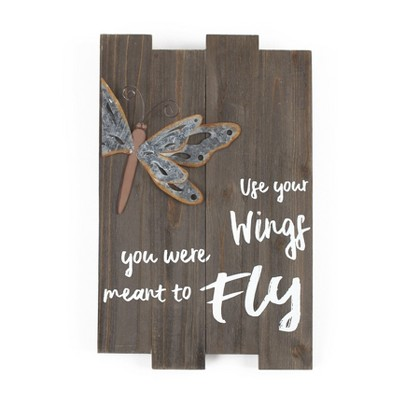 Lakeside Wall Sign with 3D Dragonfly, Word Art, Rustic Farmhouse Look
