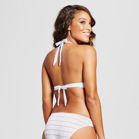 24198f5c1c1ba Women s Crochet Halter Bralette Bikini Top - White - L - Mossimo™   Target