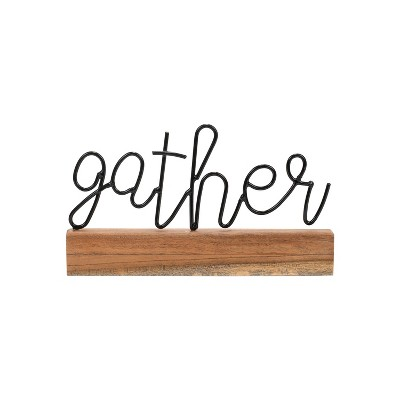Wire Metal and Wood Decorative Table Top Sign - Foreside Home & Garden