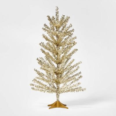 2ft Mini Unlit Tinsel Christmas Tree Champagne Gold - Wondershop™