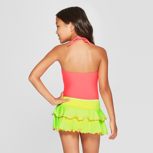 d26baf52b68f6f Girls' One In Melon One Piece With Skirt Swimsuit - Cat & Jack™ Coral :  Target
