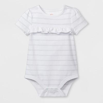 Baby Girls' Short Sleeve Ruffle Bodysuit - Cat & Jack™ White 0-3M