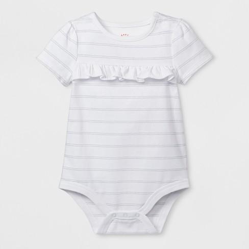 396acb83562f Baby Girls  Short Sleeve Ruffle Bodysuit - Cat   Jack™ White Newborn ...