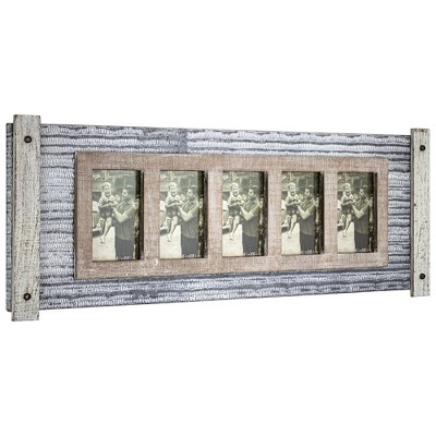 "32"" x 12"" Rustic Wood and Metal Hanging 5 Picture Photo Frame Wall Accent - American Art Decor"