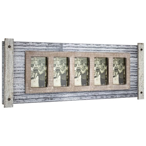 """32"""" x 12"""" Rustic Wood and Metal Hanging 5 Picture Photo Frame Wall Accent - American Art Decor - image 1 of 4"""