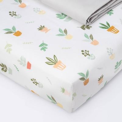 Fitted Crib Sheet - Cloud Island™ Plants/Gray 2pk
