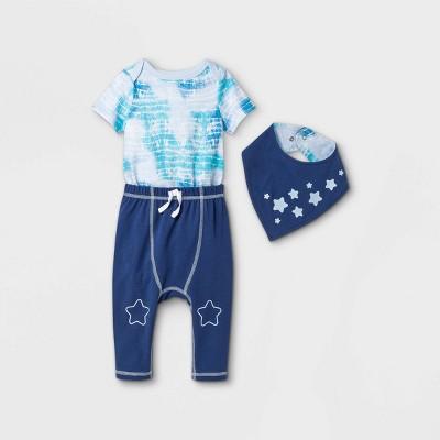 Baby Star 3pc Tie-Dye Top & Bottom Set with Bib - Cat & Jack™ Blue Newborn
